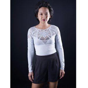 Bebe Lace Cutout Top Gray Size S